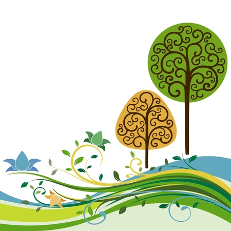 Backdrop with swirly trees Illustration