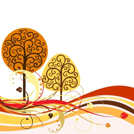 silueta: Backdrop with swirly trees Illustration