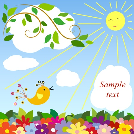 birds scenery: Illustration of a beautiful day-2