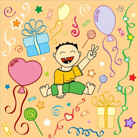 Babys birthday. Holiday texture in vector Vector