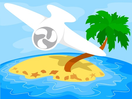 Airplane over a tropical island Stock Vector - 10047551