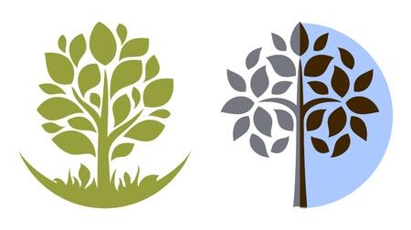 logotipo abstracto: Emblema de �rbol de Vector 3