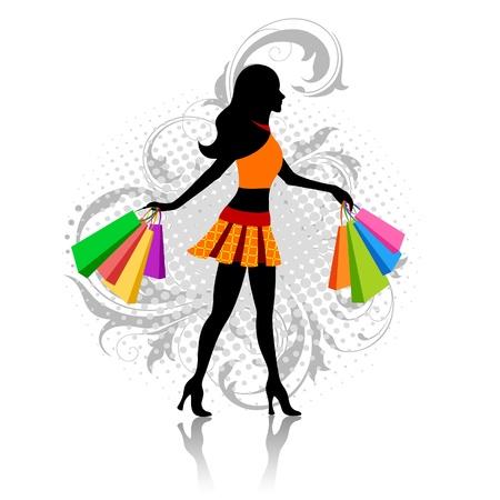 moda urbana: Ni�a con bolsas de compras