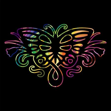 Rainbow butterfly 2 Vector