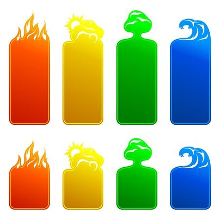 cuatro elementos: Banners 4 elementos Vectores