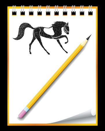 Hand drawn horse in notebook Vector