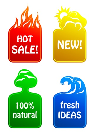 Stickers 4 elements Stock Vector - 11330395
