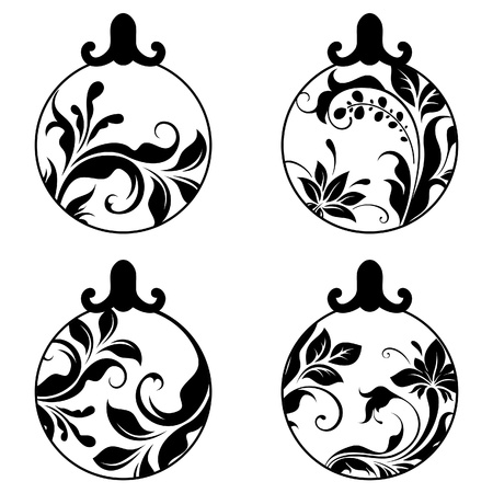 swirl design: Black and white xmas balls Illustration