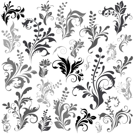 Swirly design elements 1 Vector