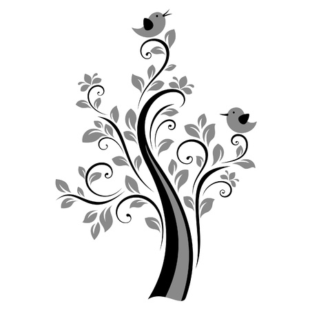 Birds on the tree (black) Vector