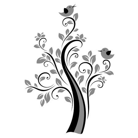bird logo: Birds on the tree (black)