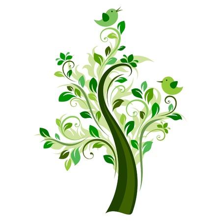 природа: Птицы на дереве (зеленый)
