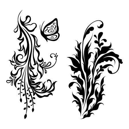 Vertical floral decorations Vector