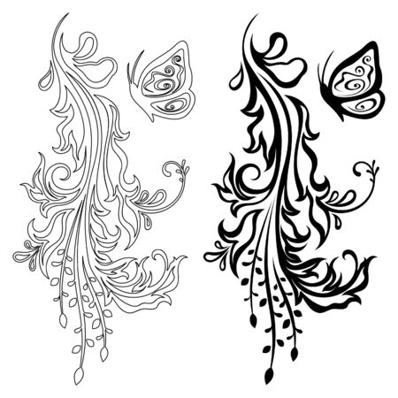 Vertical floral decoration Vector