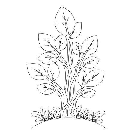 arboles blanco y negro: Dibujado a mano de árboles
