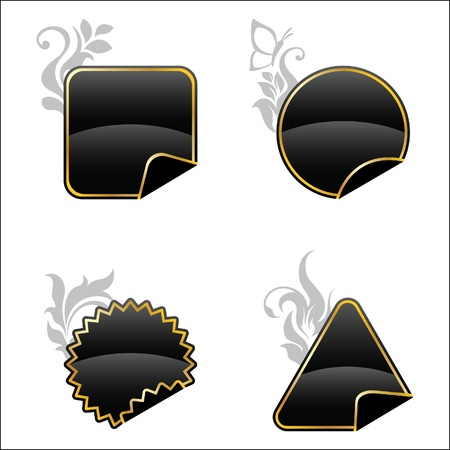 Black floral decorated buttons Vector