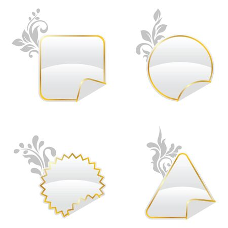 White floral decorated buttons Vector