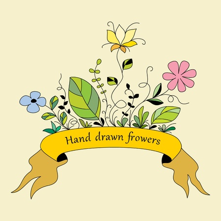silueta: Hand drawn flowers