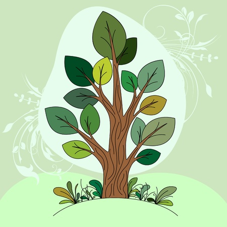 Hand drawn tree  color  Vector