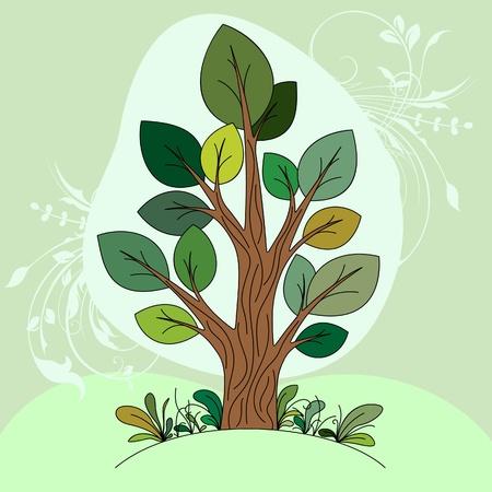 silueta: Hand drawn tree  color