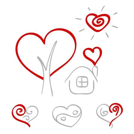 Hand drawn hearts 2 Illustration