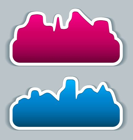 Stickers speech bubbles - cityscape Vector