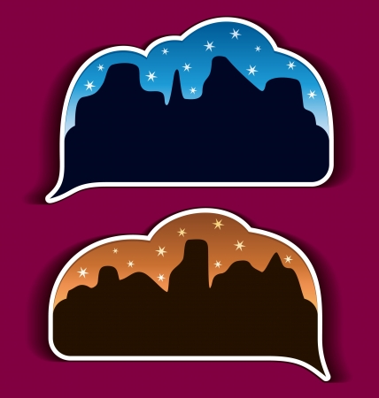 Stickers speech bubbles - night city Stock Vector - 14557199
