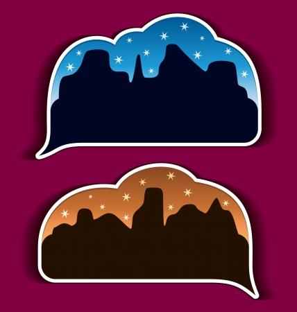 Stickers speech bubbles - night city Stock Vector - 14557199