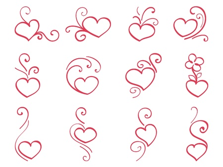 corazones: Hand drawn hearts 3 Illustration