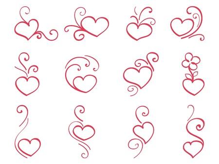 Hand drawn hearts 3 Illustration