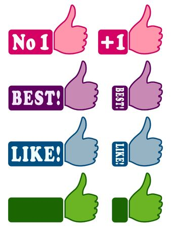 Web icons with thumb up (like!) 1 Stock Vector - 15124685