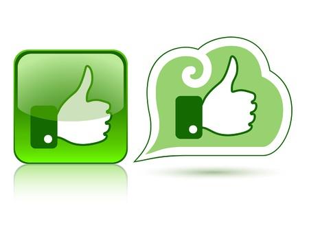 deacuerdo: Iconos del Web con el pulgar para arriba como 2 verde