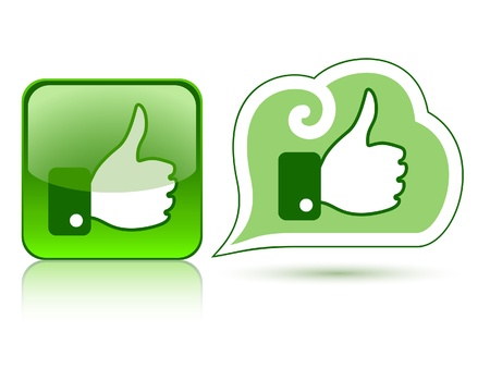 Web icons with thumb up  like   2 green Vector