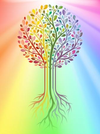 boom wortels: Vector boom op regenboog achtergrond