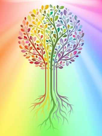 trees with roots: Vector tree on rainbow background Illustration