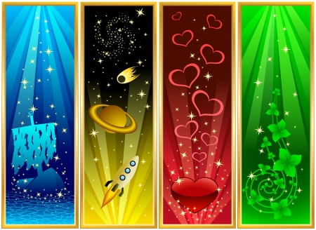Vertical banners Water, space, love and life Vector