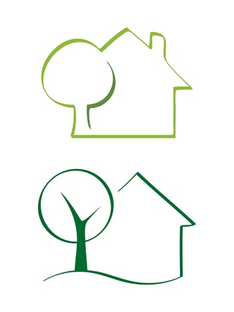 ecology emblem: House and tree