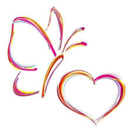 Corazón pintado y la mariposa Vectores