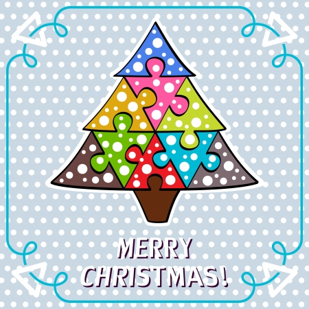 Xmas card with puzzle tree Vector