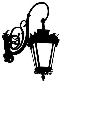 silueta: Street lamp silhouette Illustration