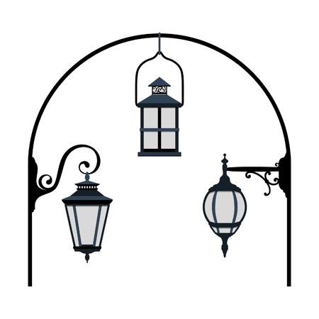 silueta: Street lanterns Illustration