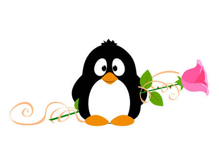 Penguin with rose Stock Vector - 25317068