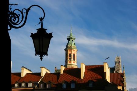 stare miasto: Lantern in old town in Warsaw, Poland  Stock Photo