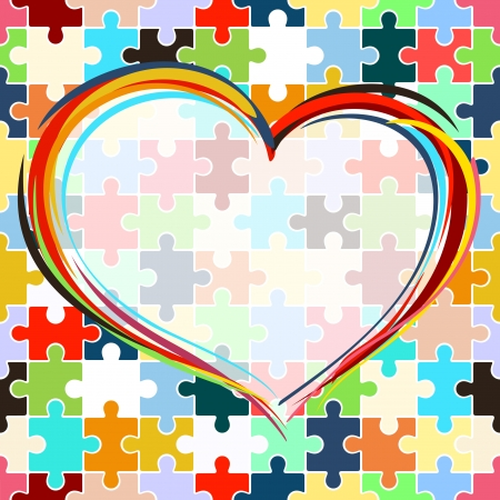 Painted heart on seamless puzzle background