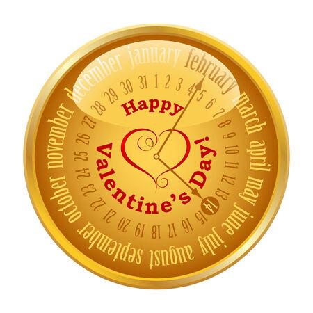 Gold button with calendar Vector
