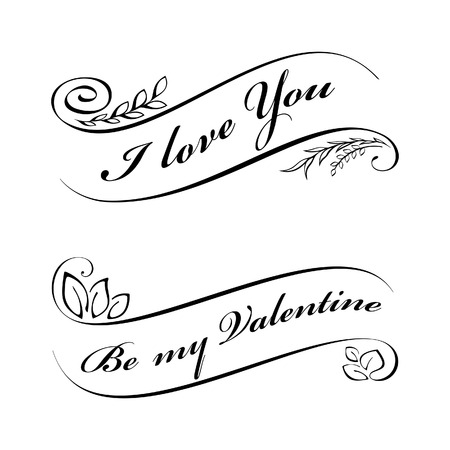 Calligraphic design elements for Valentines day Vector