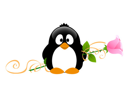 Penguin with rose Stock Vector - 29303601