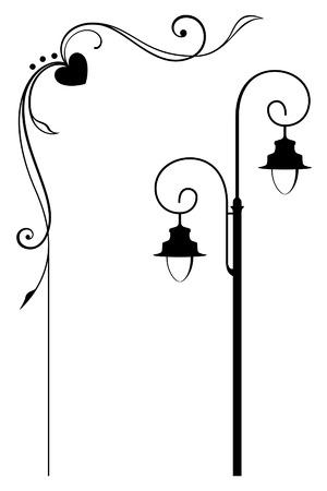 silueta: Street lamp and romantic frame