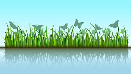 Butterflies in grass Illustration