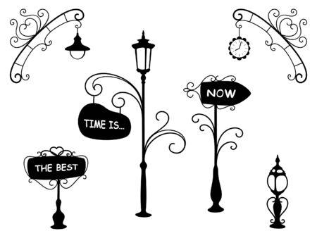 streetlight: Cartoon street lamps and signboards